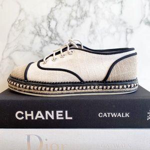 Chanel cotton lace up espadrilles